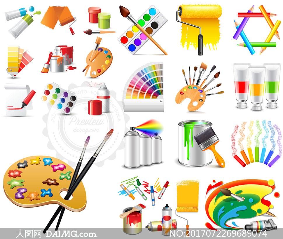 颜料桶与画笔调色盘等设计矢量素材