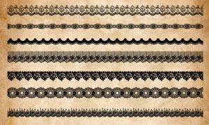 40款蕾丝花纹装饰边框PS笔刷