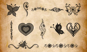 心形装饰和蝴蝶花纹PS笔刷