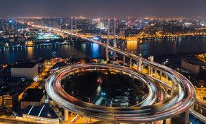 城市立交和大桥美丽夜景摄影美高梅