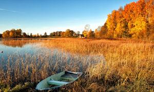 秋季湖泊中停泊的小舟摄影图片