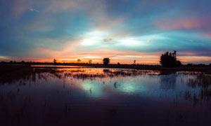 夕阳下的水边唯美景色摄影图片