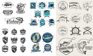 復古懷舊風釣魚俱樂部紋章矢量素材