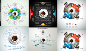 手绘元素与信息图创意设计矢量素材