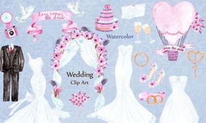 水彩礼服和婚礼布置元素PS笔刷