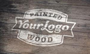 木纹喷绘效果标志图案贴图分层模板