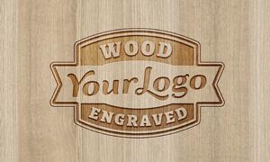 木质雕刻效果标志贴图分层设计模板