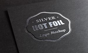 深色背景上的烫银标志贴图分层模板