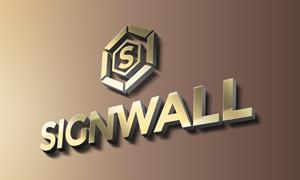 墙上立体效果金属标志应用贴图模板