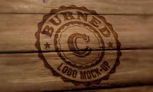 木板上的烫印效果标志图案贴图模板