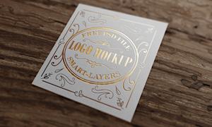 金色质感凹陷效果标志图案贴图模板