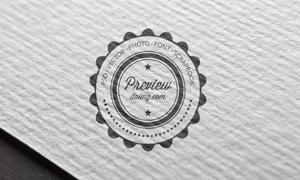 厚纸上的标志图案印刷效果贴图模板