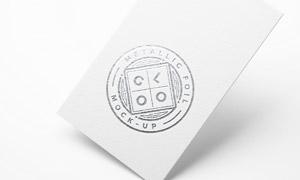 卡片上的铝箔效果标志图案贴图模板