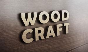 木板上的立体标志视觉效果贴图模板