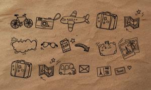 手绘交通工具和箭头图标PS笔刷