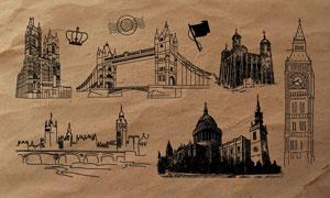 手绘伦敦知名建筑PS笔刷