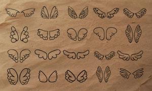简笔画卡通翅膀装饰PS笔刷