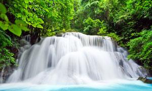 林中唯美的小溪瀑布摄影图片