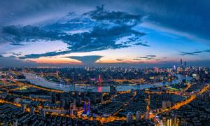 上海繁华都市夜景全景摄影图片