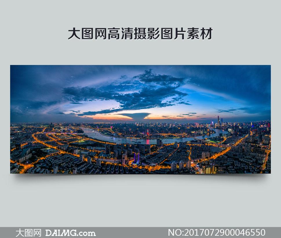 上海繁华都市夜景全景摄影美高梅