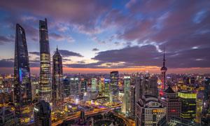 上海陆家嘴美丽夜景摄影美高梅