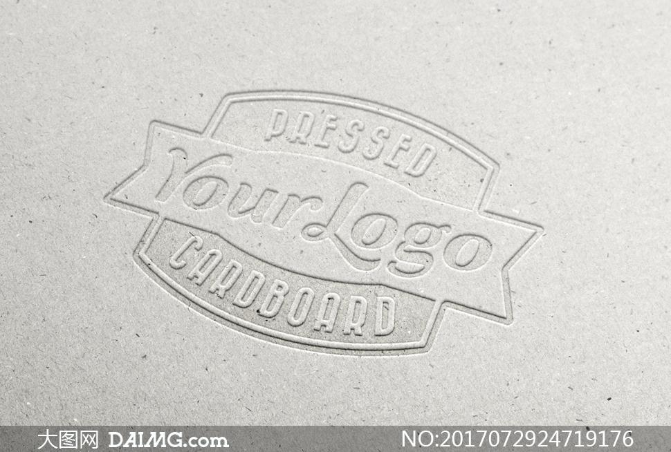 纸板上的钢印浮雕效果标志贴图模板