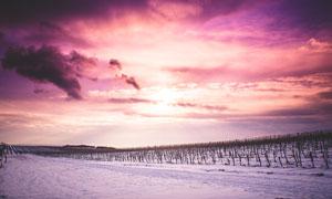 长白山冰天雪地黄昏美景摄影图片