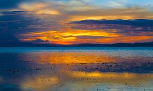 秦皇岛海边黄昏景观摄影图片