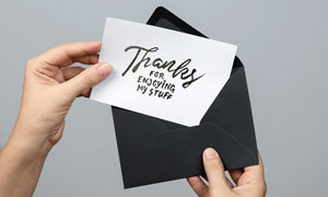 贺卡上的祝词应用展示效果贴图模板