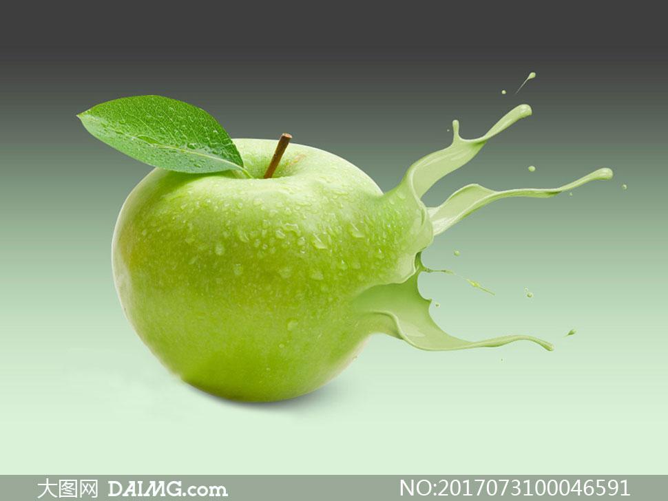 苹果被液体喷溅打散效果ps教程素材