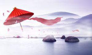 中国风古风广告背景设计PSD模板