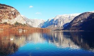 哈尔施塔特湖美丽风光摄影图片