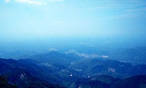 蓝天下的横山全景图摄影图片