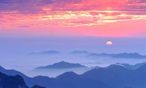 黄山顶峰美丽日落景观摄影图片