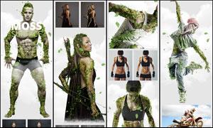 人像添加绿叶和藤蔓效果PS动作