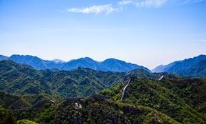蓝天下的长城全景摄影美高梅