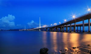 深圳湾大桥美丽夜景摄影图片