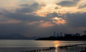 深圳湾日落美景摄影图片