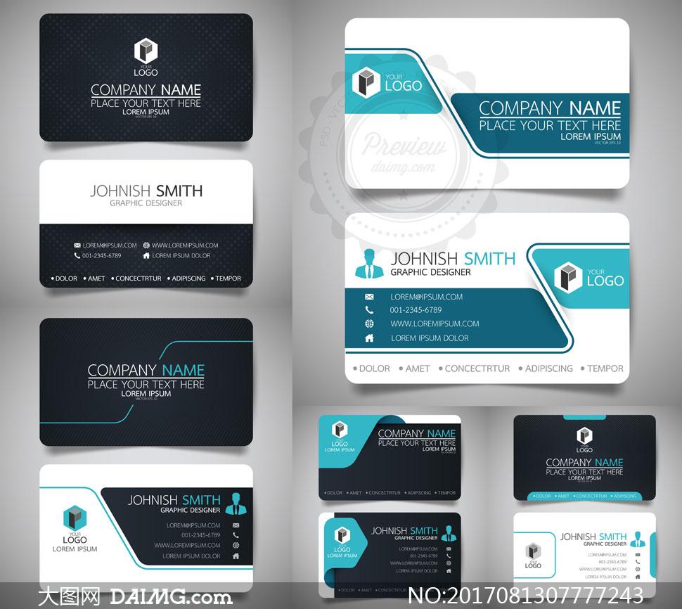 黑色蓝色商务名片版式设计矢量素材