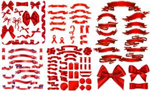 标签吊牌与蝴蝶结飘带元素矢量素材