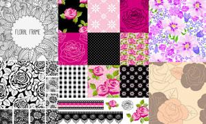 鲜艳花朵与黑白效果图案等矢量素材