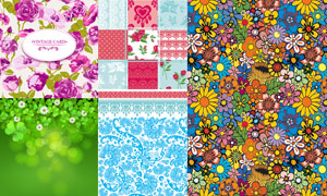 玫瑰三叶草等花纹装饰图案矢量素材