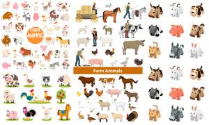 马匹奶牛与家猪等农场动物矢量素材