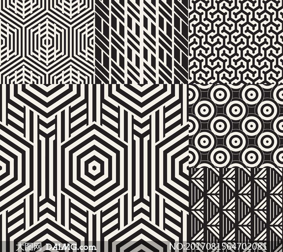 黑白抽象效果无缝平铺图案矢量素材