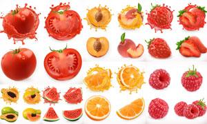 逼真效果的芒果柚子等水果矢量素材