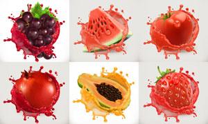 草莓西瓜与木瓜葡萄等水果矢量素材