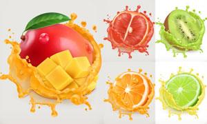 逼真效果的芒果柚子等水果矢量素