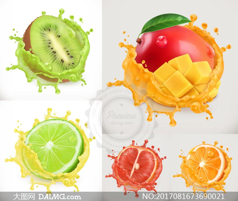 逼真效果的芒果柚子等水果矢量素材图片