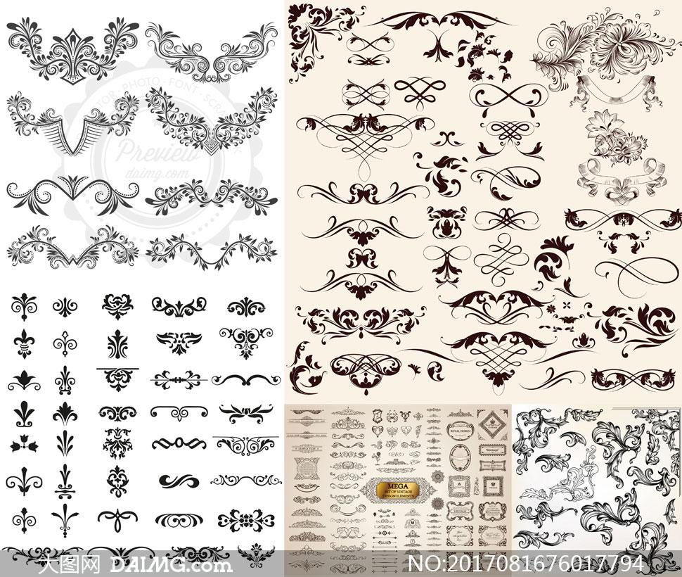 词: 矢量素材矢量图设计素材花纹图案花边边框复古怀旧欧式古典黑白花