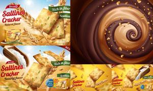 巧克力与撒盐饼干食品主题矢量素材